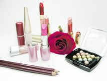 Cosmetic set for makeup Stock Photos