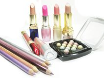Cosmetic set for makeup Stock Photo