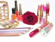 Cosmetic set for makeup Stock Image