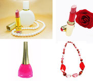 Cosmetic set for makeup lipstick beads Stock Photos