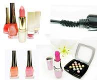 Cosmetic set for makeup lipstick mascara eye-shadows Royalty Free Stock Image