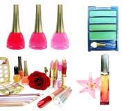 Cosmetic set for makeup lipstick mascara eye-shadows Royalty Free Stock Photo