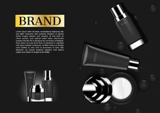 Cosmetic set with opened cream on dark background, top view.  Royalty Free Stock Images