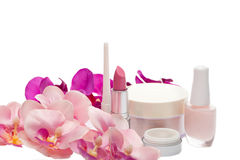 Cosmetic set with orchids Stock Images