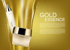 Cosmetic set with pouring gold and gold dust on golden backgroun. D Stock Images