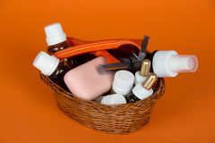 Cosmetic set, soap and razor in wattled basket Royalty Free Stock Image