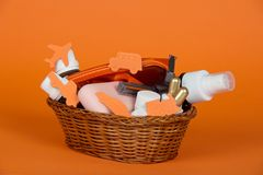 Cosmetic set, soap and safety razor in basket Stock Image
