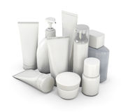 Cosmetic set from various means on a white Stock Photography