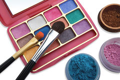 Cosmetic set on a white background. Cosmetics and brushes for a make-up on a light background Royalty Free Stock Photos
