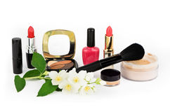 Cosmetic set on white background Stock Images