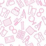 Cosmetic simless pattern. Mascara, lipstick, powder, eye shadow, perfume, cream, foundation, eye liner, mirror, hair comb and othe Stock Photos