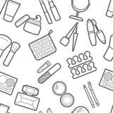 Cosmetic simless pattern. Mascara, lipstick, powder, eye shadow, perfume, cream, foundation, eye liner, mirror, hair comb and othe Royalty Free Stock Photos