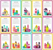 Cosmetic Skin Care Makeup Perfume Colorful Banners stock illustration