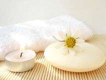 Cosmetic soap and candle Stock Photography