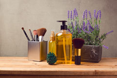Cosmetic SPA and make up  background with products on wooden table Royalty Free Stock Image
