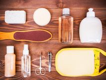 Cosmetics on the wooden floor. Cosmetic SPA mock up template for branding identity design. View from above Stock Photography