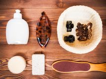 Cosmetics on the wooden floor. Cosmetic SPA mock up template for branding identity design. View from above Stock Photo