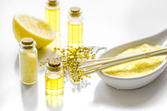 Cosmetic for spa with organic oils and sea salt on white background Royalty Free Stock Images