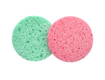 Cosmetic sponge for cleaning face isolate (clipping path). Stock Photo