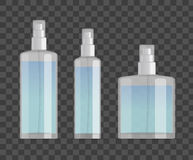 Cosmetic spray bottles set  on checkered background. Small, big and wide bottles. Realistic vector design. Cosmetic spray bottles set  on checkered background Stock Photo
