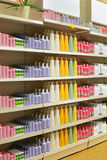 Cosmetic store shelf Royalty Free Stock Image