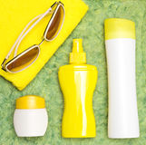 Cosmetic sunscreen products for face and body skin care Stock Image