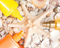 Cosmetic sunscreen products with shells and starfish Stock Images