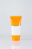 Cosmetic sunscreen tube on white Royalty Free Stock Photography