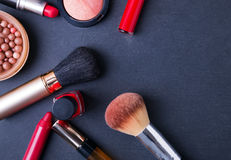 Cosmetic supplies on the black background Stock Photo