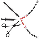 Cosmetic surgery. Symbol for: Beauty knows no pain Stock Photos