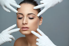 Cosmetic surgery. Beautiful Woman before Plastic Operation. Beau. Ty Face Stock Images