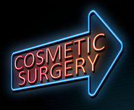 Cosmetic surgery concept. 3d Illustration depicting an illuminated neon sign with a cosmetic surgery concept Stock Photography