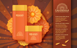Cosmetic template with calendula. Vector illustration. Stock Photography