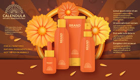 Cosmetic template with calendula. Vector illustration. Royalty Free Stock Photos