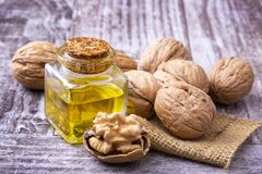 Cosmetic and therapeutic walnut oil. Food and cosmetic concept photo.  stock image