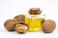 Cosmetic and therapeutic walnut oil. Food and cosmetic concept photo.  royalty free stock images