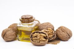 Cosmetic and therapeutic walnut oil. Food and cosmetic concept photo.  stock photography