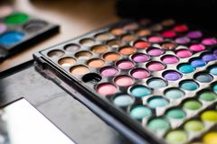 Cosmetic tools. Used color palette Stock Images