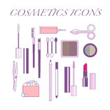 Cosmetic tools icons Royalty Free Stock Photo