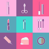Cosmetic tools icons Stock Images