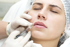 Cosmetic treatment with injection Stock Photo