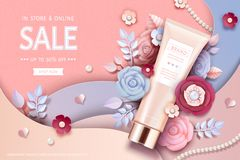 Cosmetic tube ads. With beautiful paper flowers in peach pink royalty free illustration