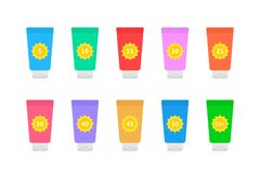 Cosmetic tubes of sunscreen with different spf factor. Set of simple flat style trend modern graphic art design  on white background Stock Images