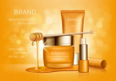 Cosmetic vector background with honey drips vector illustration
