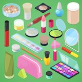 Cosmetic vector beauty make up cosmetology for beautiful woman with makeup foundation powder or eyeshadow illustration. Set of cosmetician accessories in Stock Image