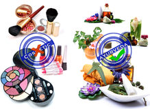 Cosmetic Vs Ayurveda Royalty Free Stock Image