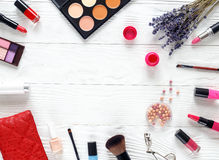 Cosmetic on white table with lavender top view, mock-up Royalty Free Stock Photos