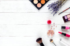 Cosmetic on white table with lavender top view, mock-up Stock Photos