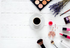 Cosmetic on white table with lavender top view, mock-up Royalty Free Stock Image