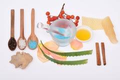 Cosmetici casalinghi su bianco Fotografia Stock